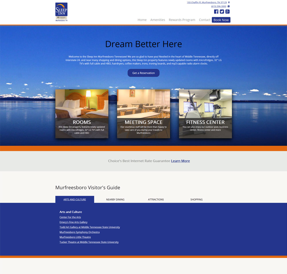 Custom Web Development, SEO - sleep_Inn